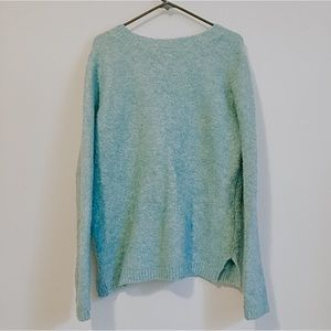 Women's Green Blue Scoop Neck Sweater